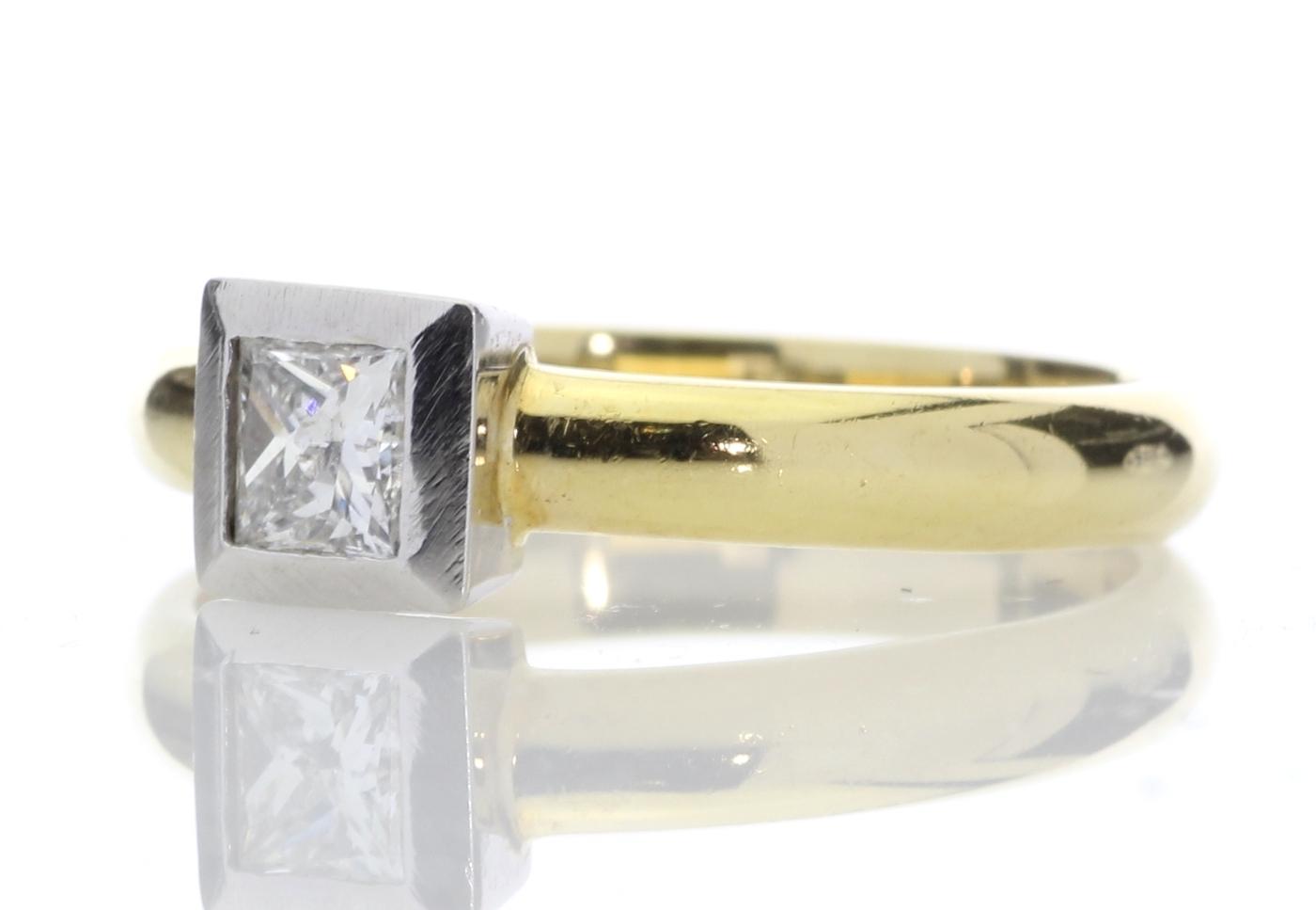 18ct Princess Cut Rub Over Diamond Ring 0.45 Carats - Image 2 of 8