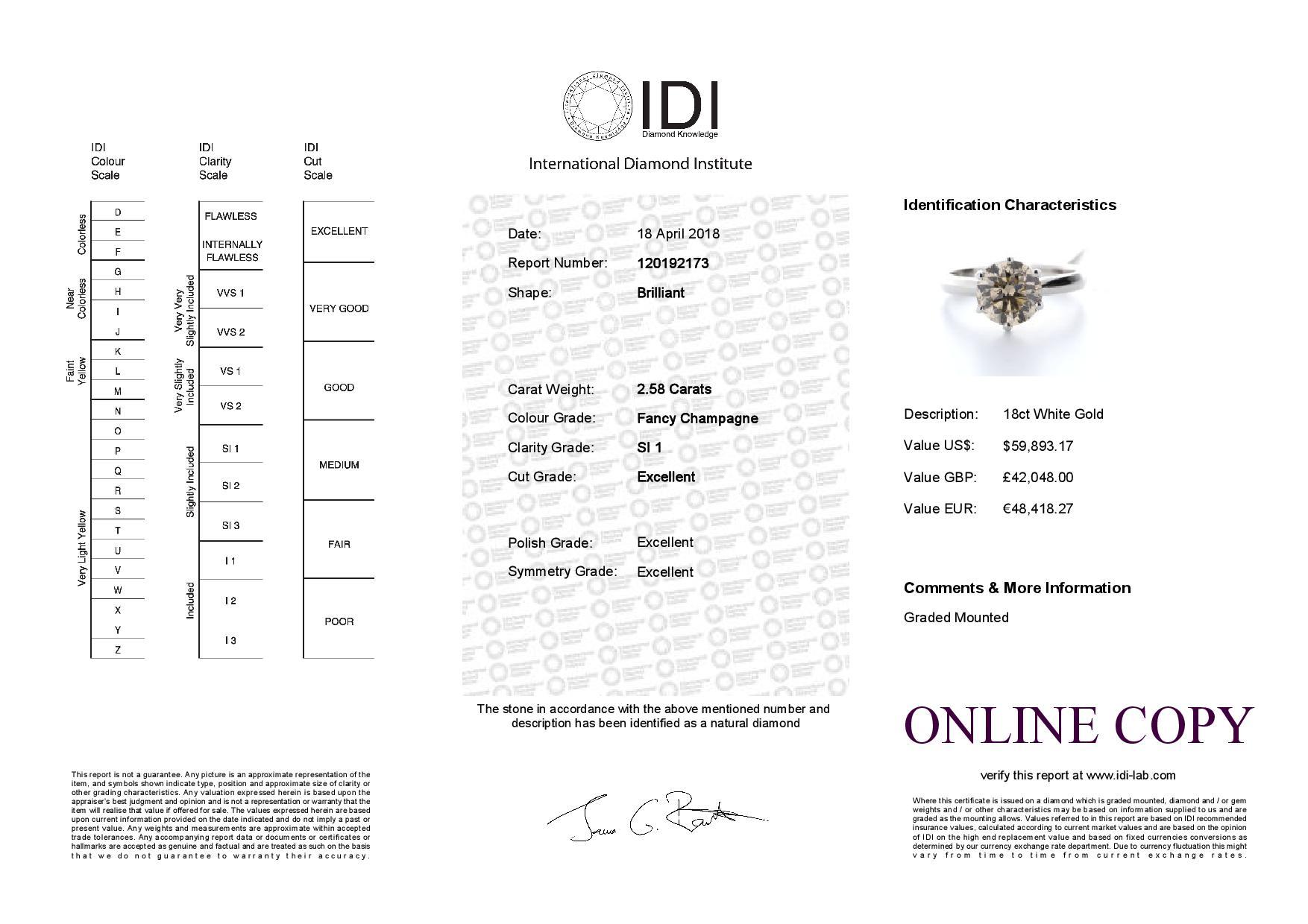 Lot 19 - 18ct White Gold Single Stone Claw Set Diamond Ring 2.58 Carats