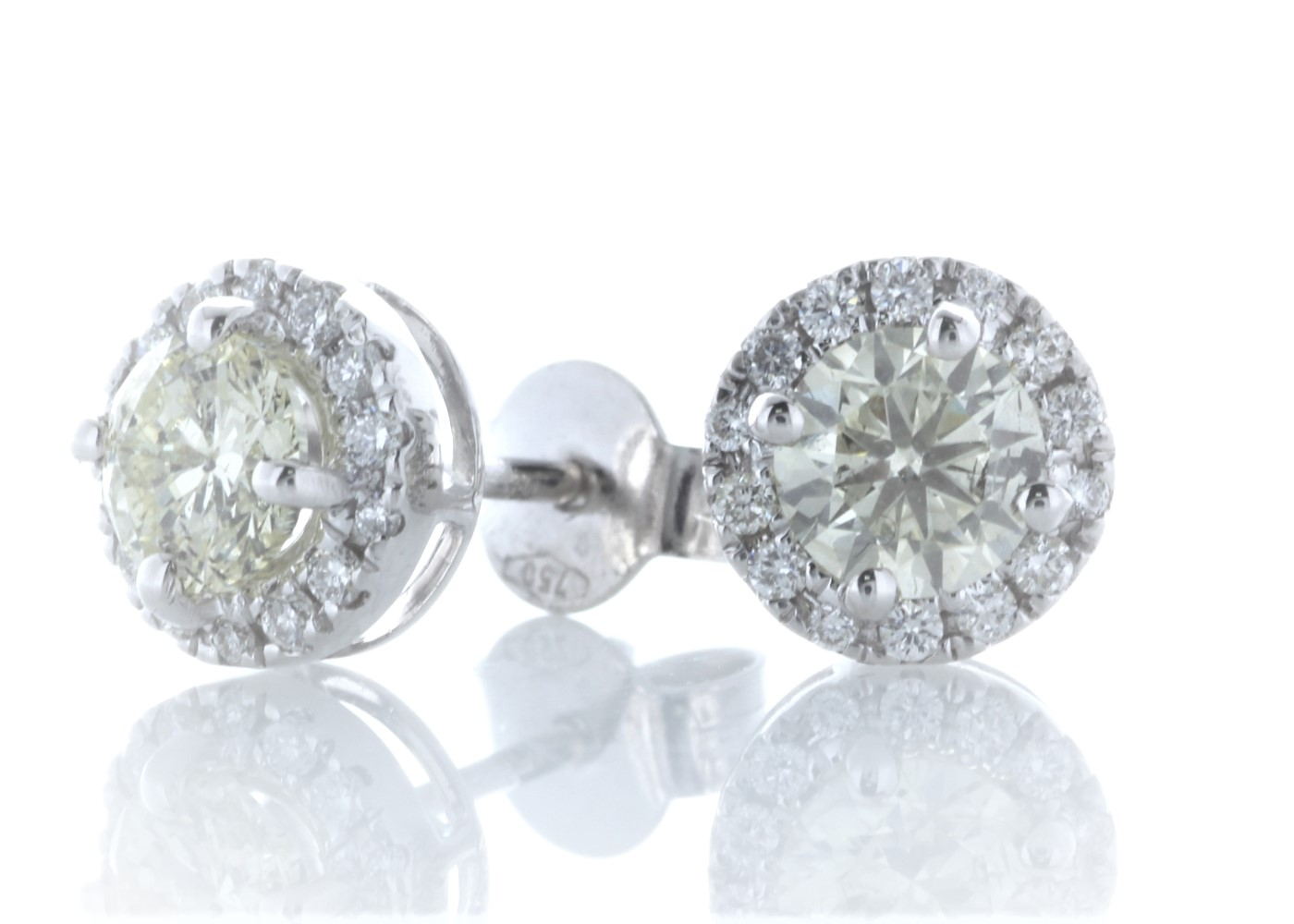 Lot 39 - 18ct White Gold Halo Set Earrings 1.29 Carats
