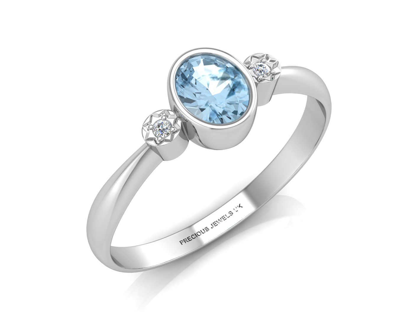 9ct White Gold Shoulder Set Diamond And Blue Topaz Ring