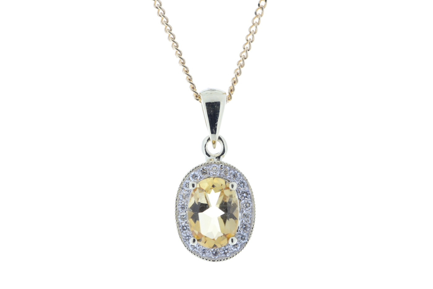 Lot 52 - 9ct Yellow Gold Diamond And Citrine Pendant