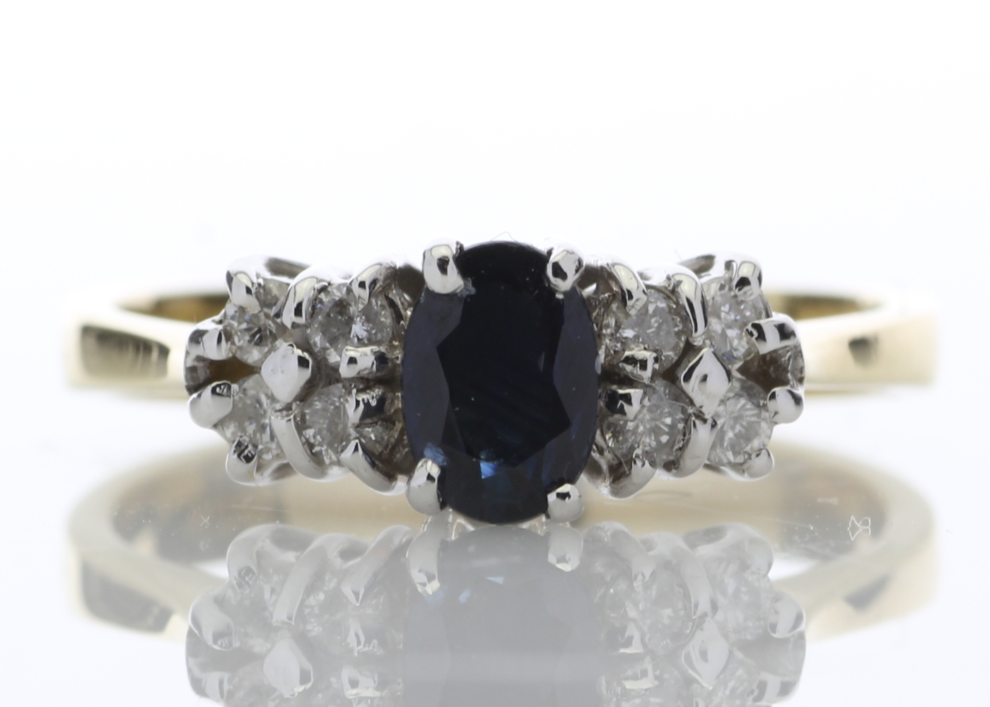 Lot 11 - 18ct Boat Shape Cluster Diamond Saphire Ring 0.50 Carats
