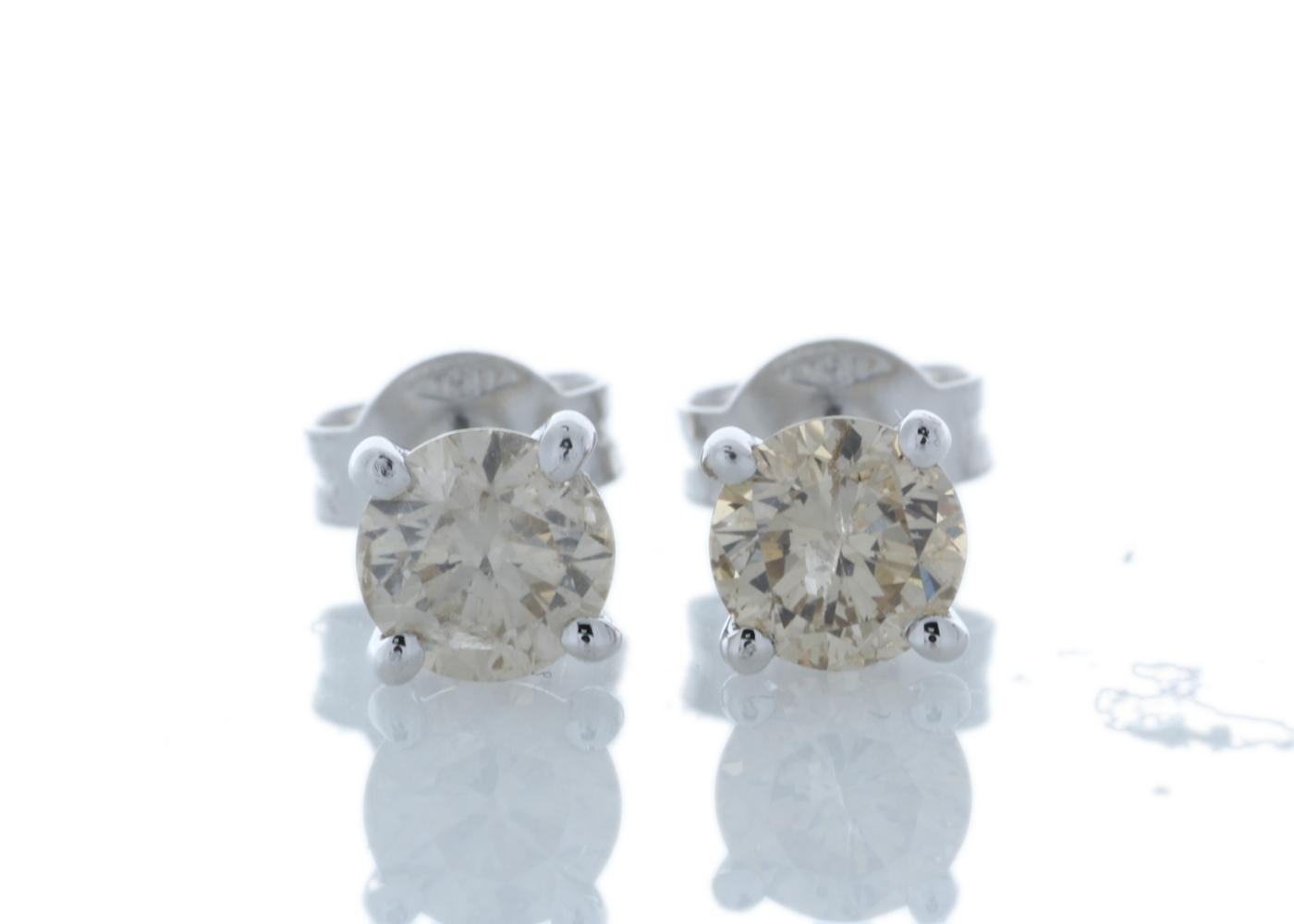 18ct White Gold Prong Set Diamond Earrings 1.22 Carats