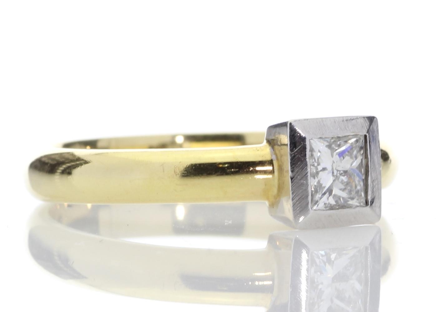 18ct Princess Cut Rub Over Diamond Ring 0.45 Carats - Image 4 of 8