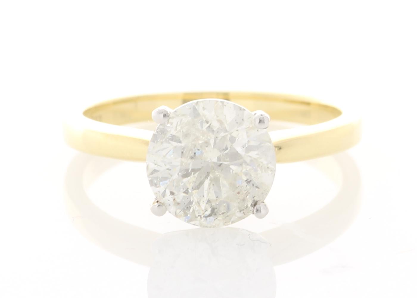 18ct Yellow Gold Prong Set Diamond Ring 2.21 Carats
