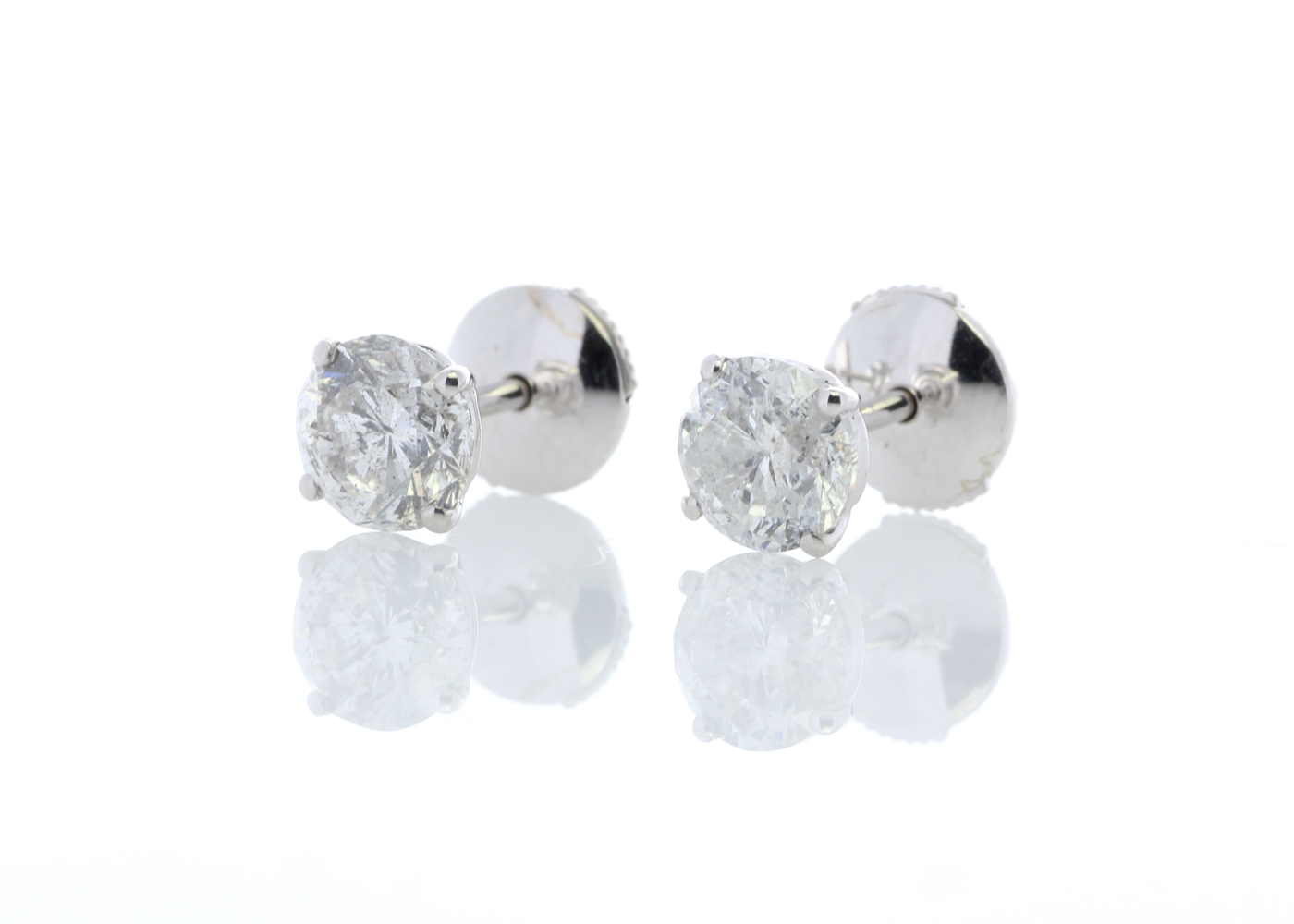 18ct White Gold Claw Set Diamond Earrings 2.21 Carats - Image 2 of 4
