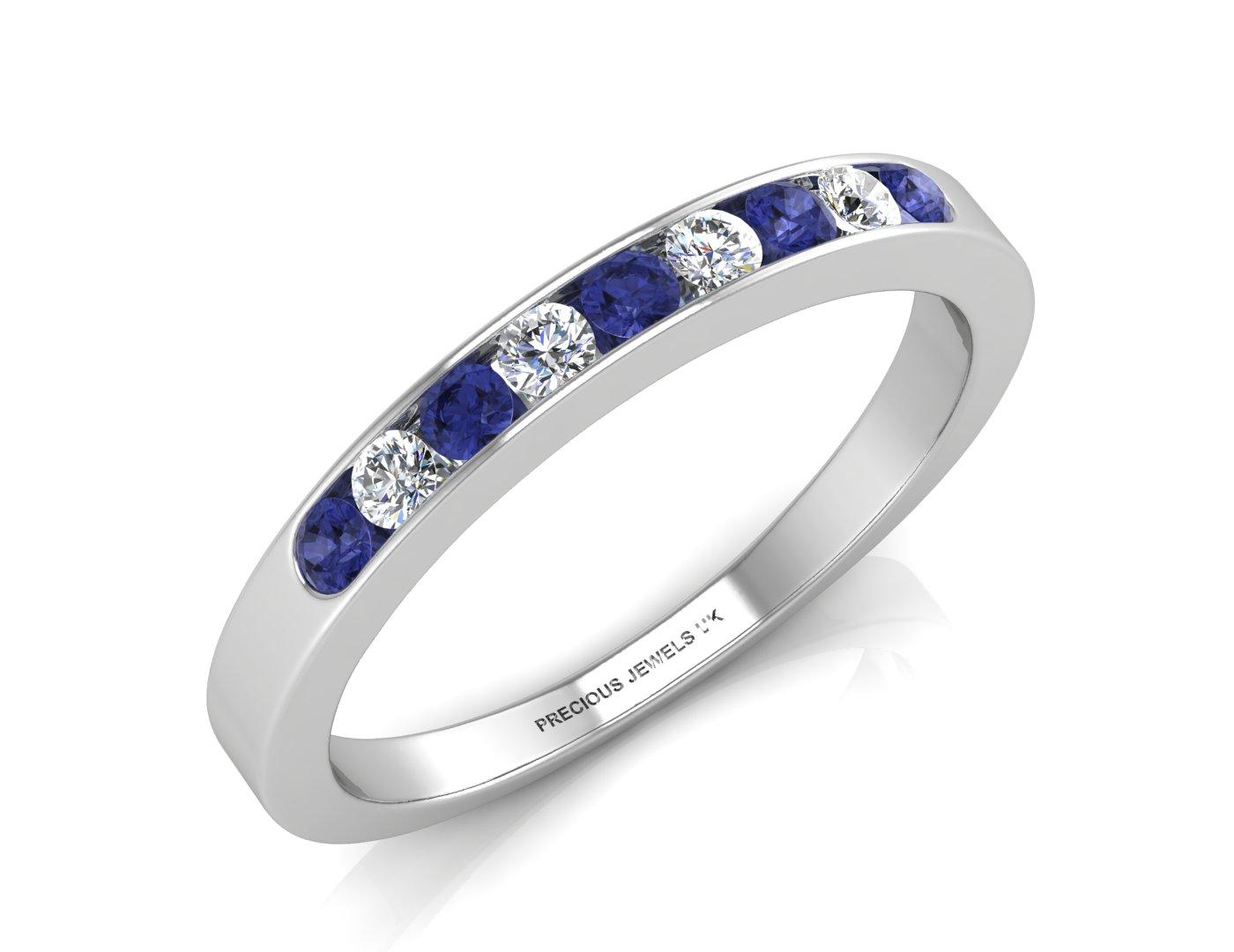 Lot 55 - 9ct White Gold Channel Set Semi Eternity Diamond & Sapphire Ring