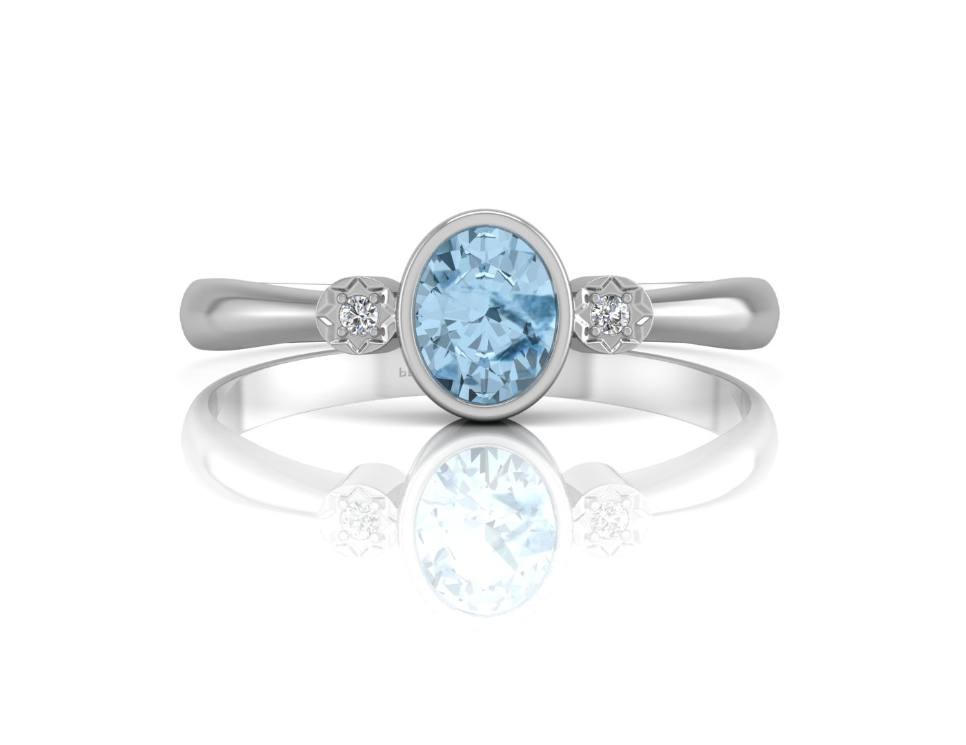 9ct White Gold Shoulder Set Diamond And Blue Topaz Ring - Image 4 of 5