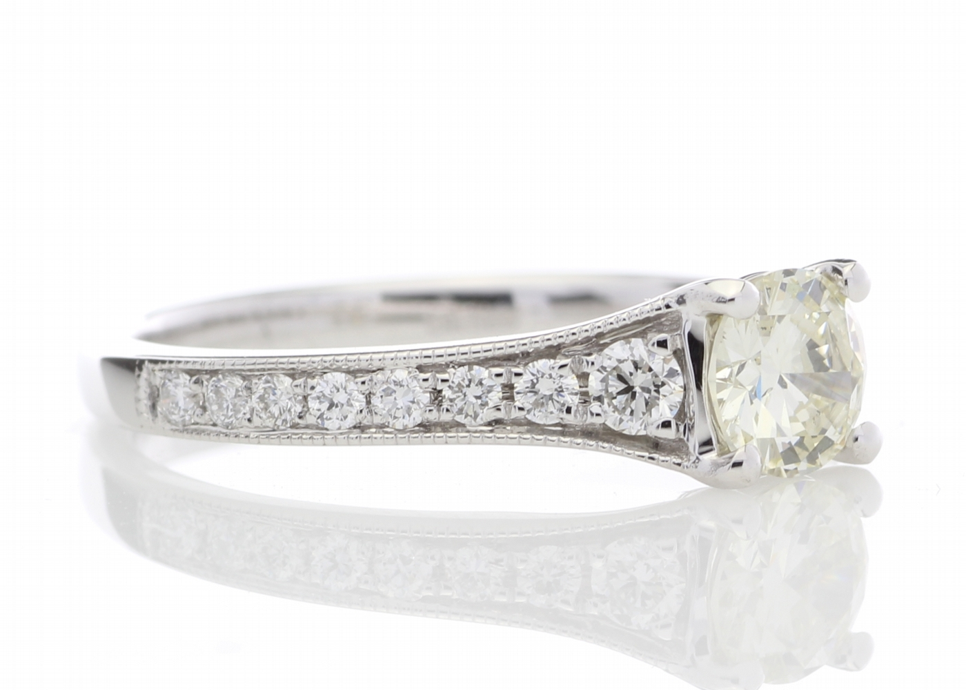 Lot 24 - 18ct White Gold Diamond Ring With Stone Set Shoulders 0.80 Carats