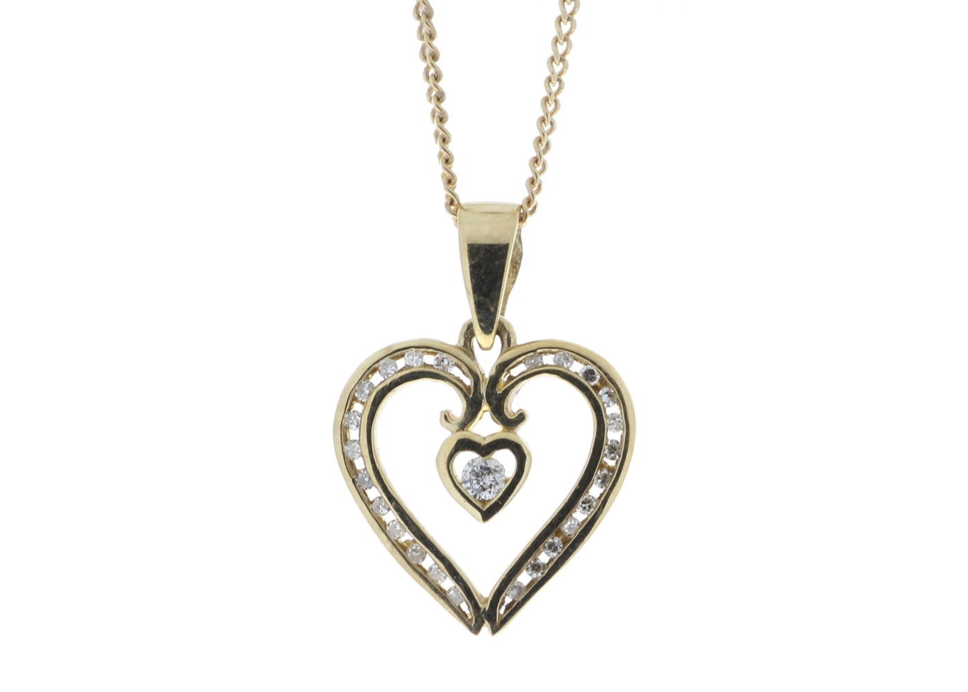 Lot 51 - 9ct Yellow Gold Heart Shaped Pendant Set With Diamonds 0.16 Carats