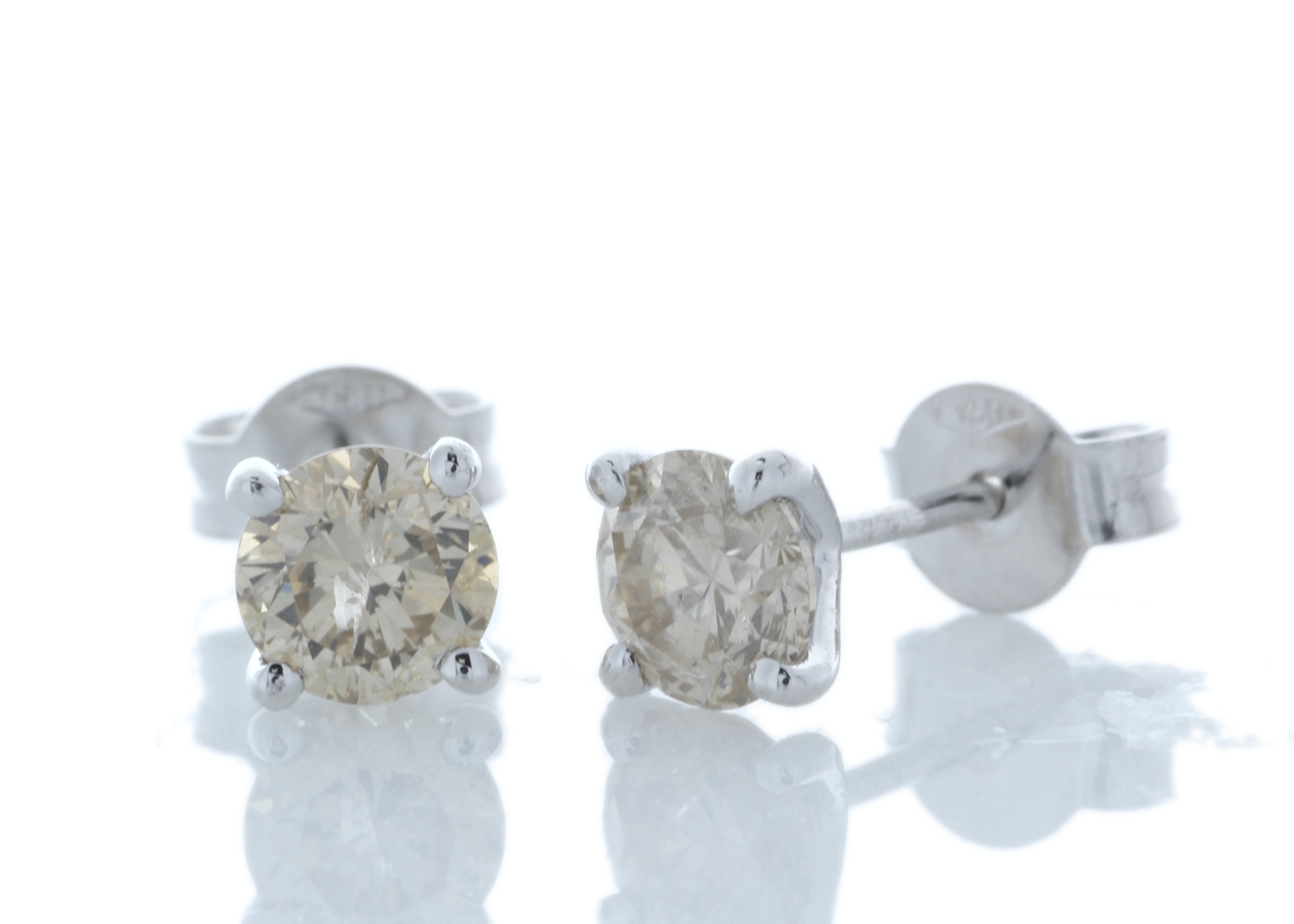 Lot 36 - 18ct White Gold Prong Set Diamond Earrings 1.22 Carats
