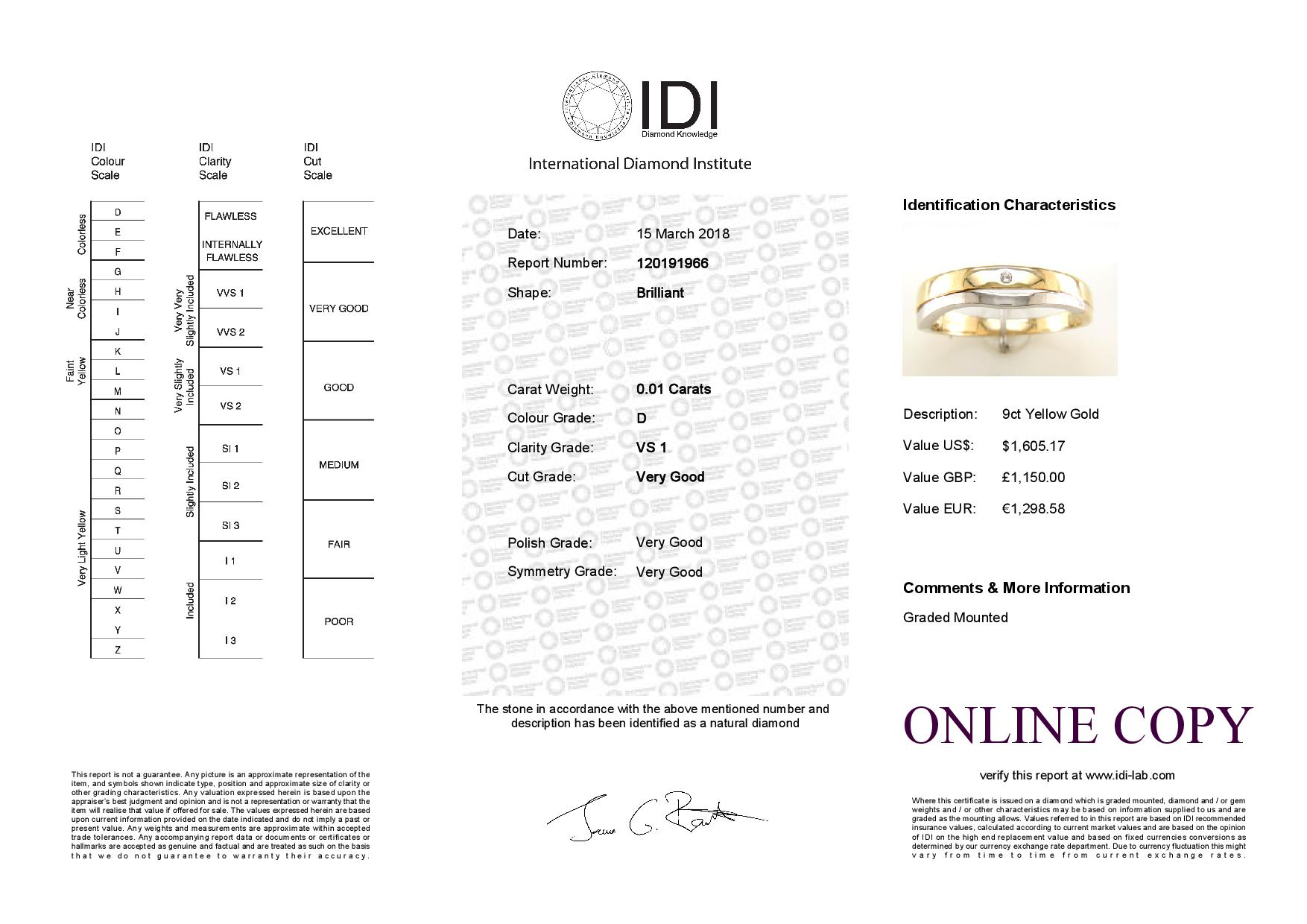 Lot 46 - 9ct Yellow Gold Single Stone Rub Over Set Diamond Ring