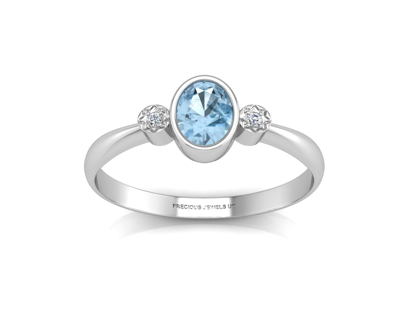 9ct White Gold Shoulder Set Diamond And Blue Topaz Ring - Image 3 of 5
