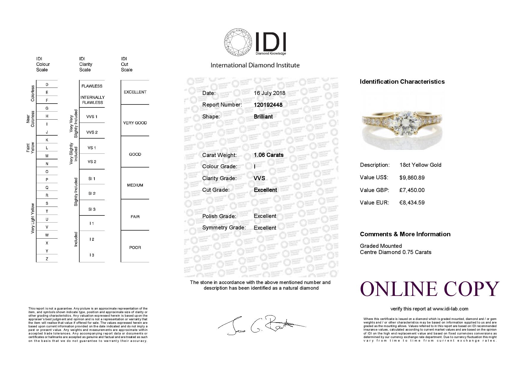 18ct Yellow Gold Diamond Ring With Stone Set Shoulders 1.06 Carats - Image 5 of 5