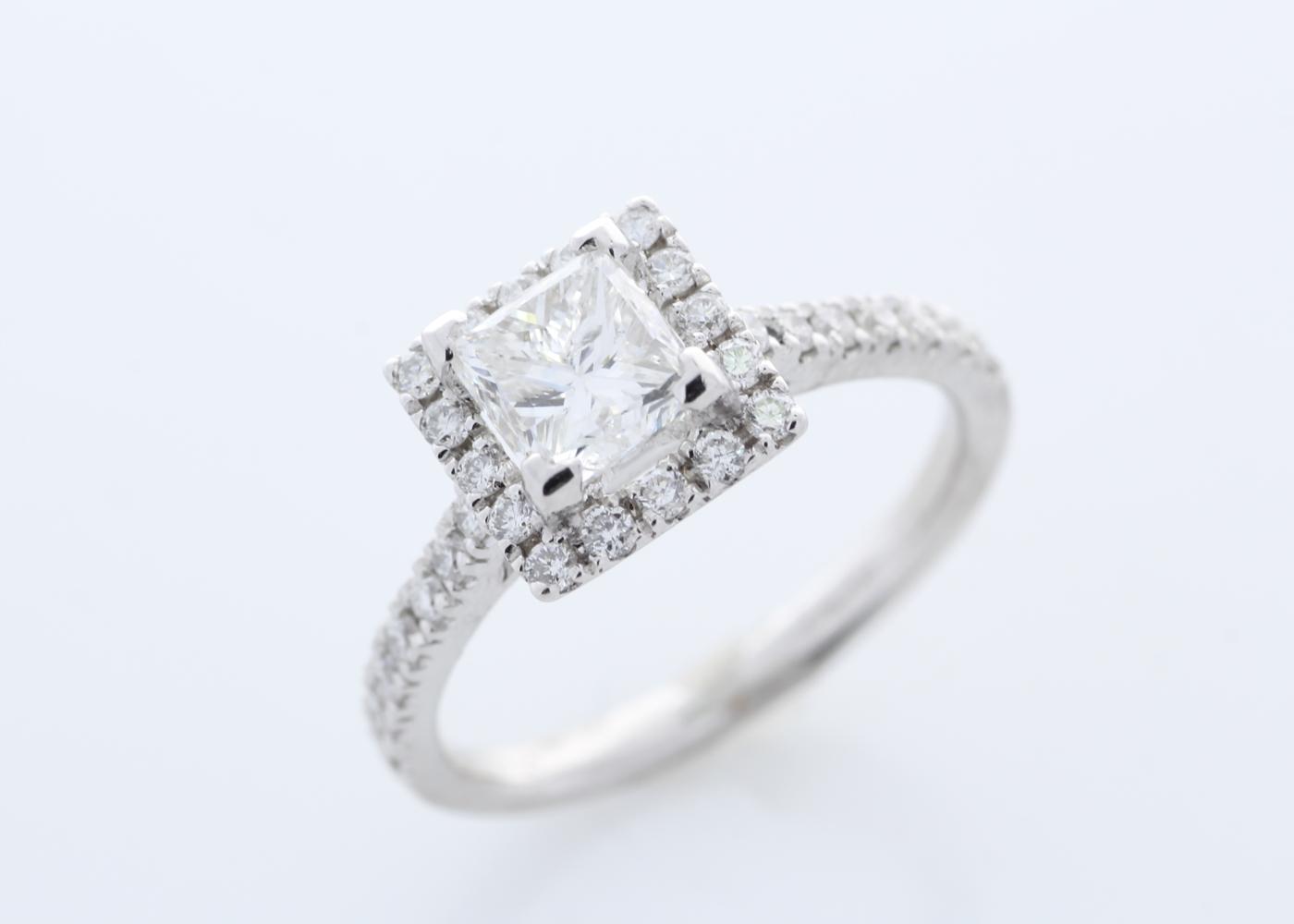 18ct White Gold Halo Set Princess Cut Diamond Ring 1.36 Carats - Image 5 of 6