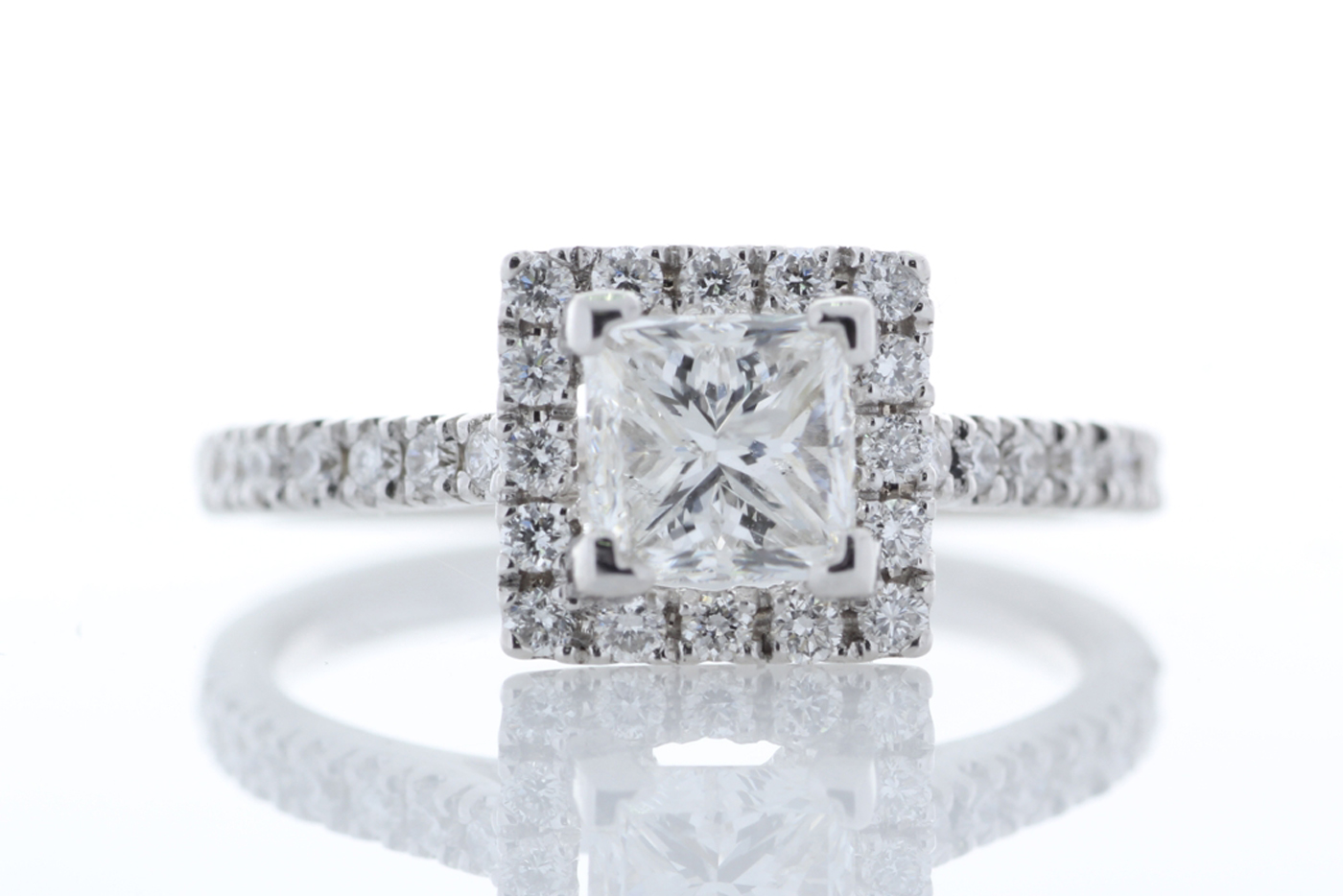 Lot 31 - 18ct White Gold Halo Set Princess Cut Diamond Ring 1.36 Carats