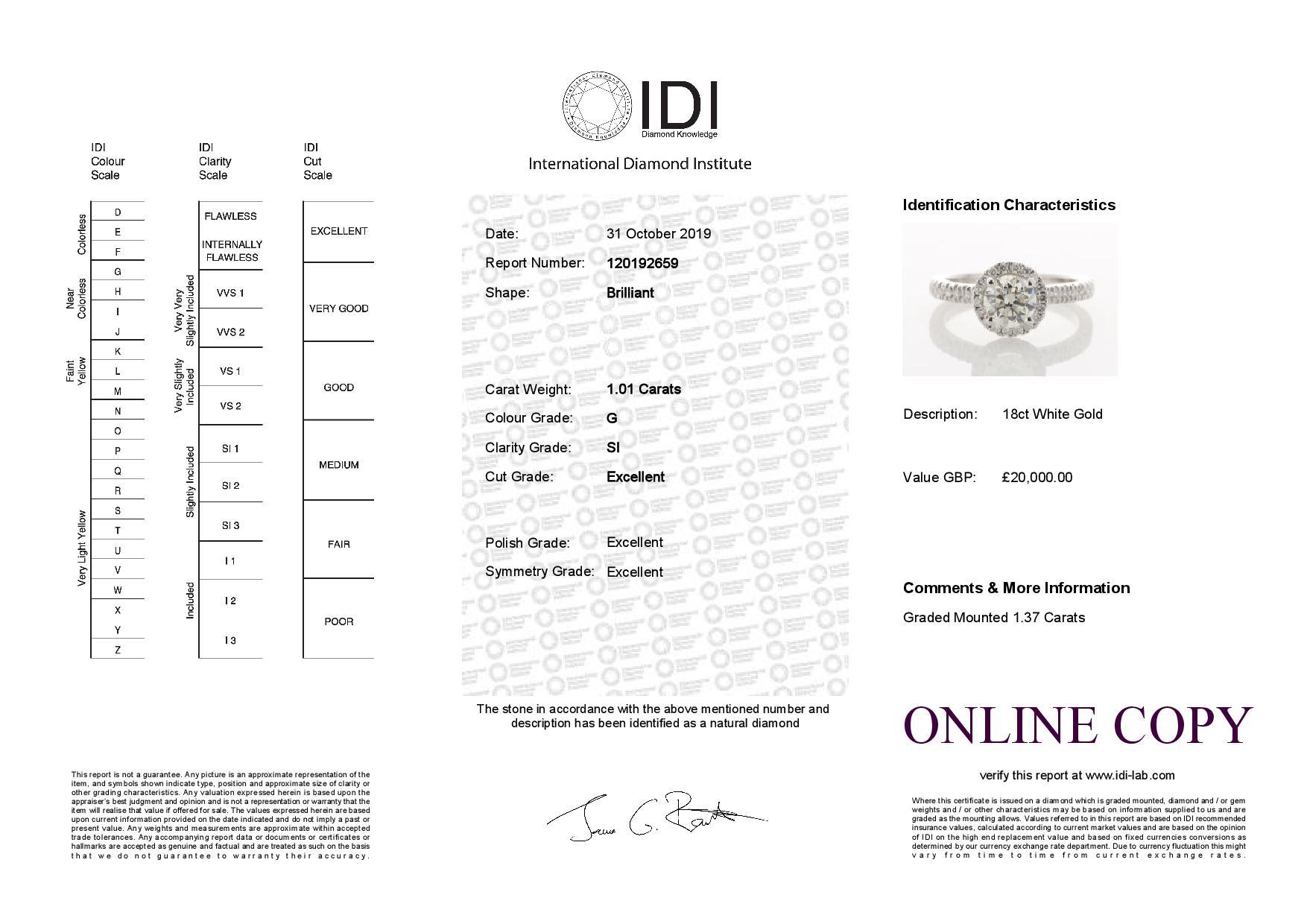 18ct White Gold Halo Set Ring 1.37 Carats - Image 5 of 5