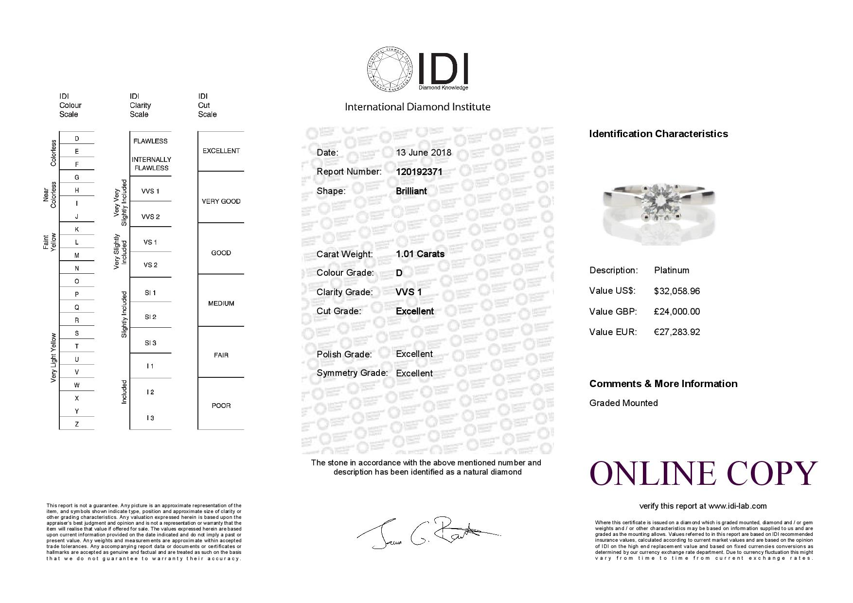 Lot 43 - Platinum Single Stone Wire Set Diamond Ring 1.01 Carats