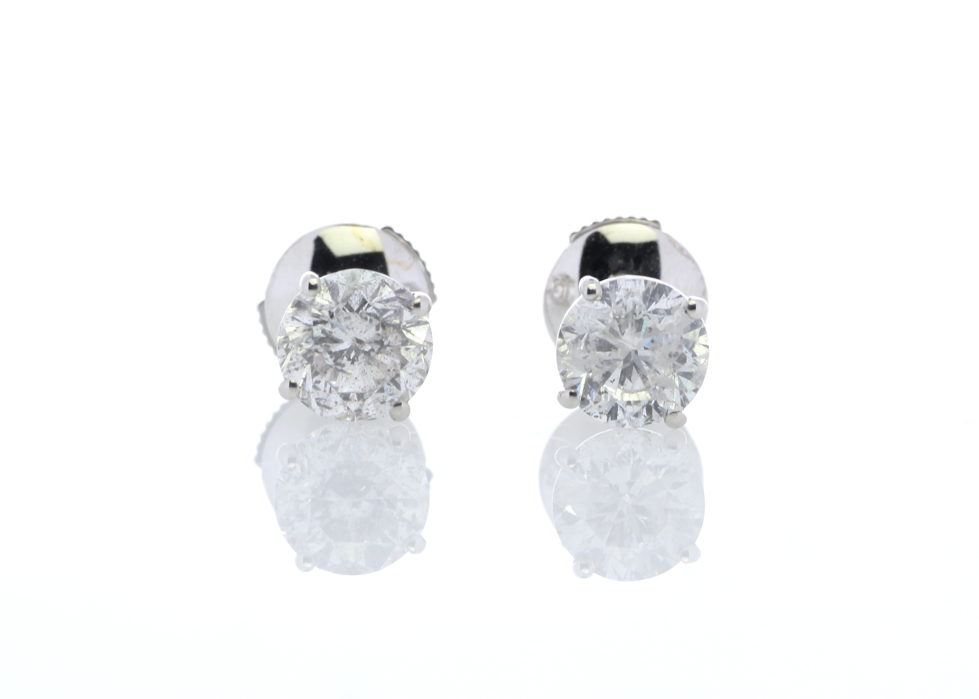 18ct White Gold Claw Set Diamond Earrings 2.21 Carats