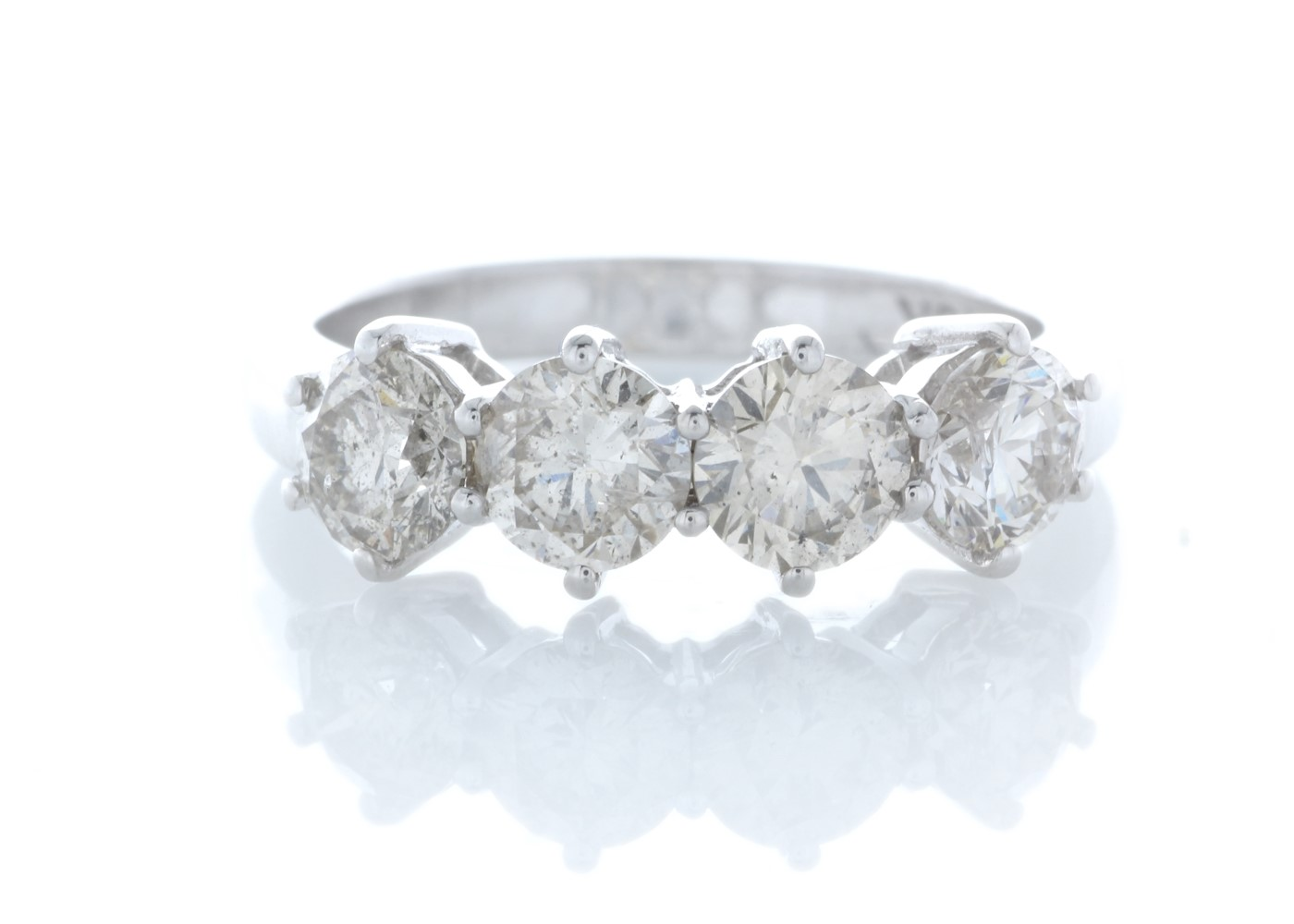 18ct White Gold Four Stone Claw Set Diamond Ring 2.10 Carats