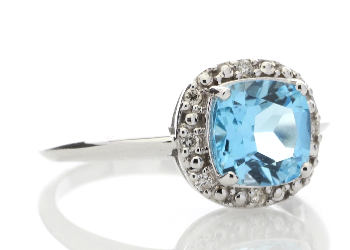 Lot 60 - 9ct White Gold Blue Topaz Diamond Ring