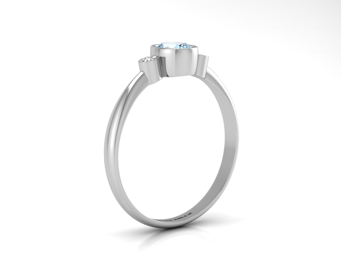 9ct White Gold Shoulder Set Diamond And Blue Topaz Ring - Image 2 of 5