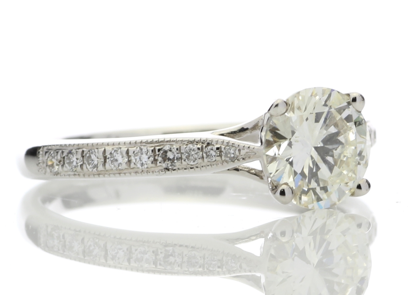 Lot 23 - 18ct White Gold Diamond Ring With Stone Set Shoulders 1.15 Carats