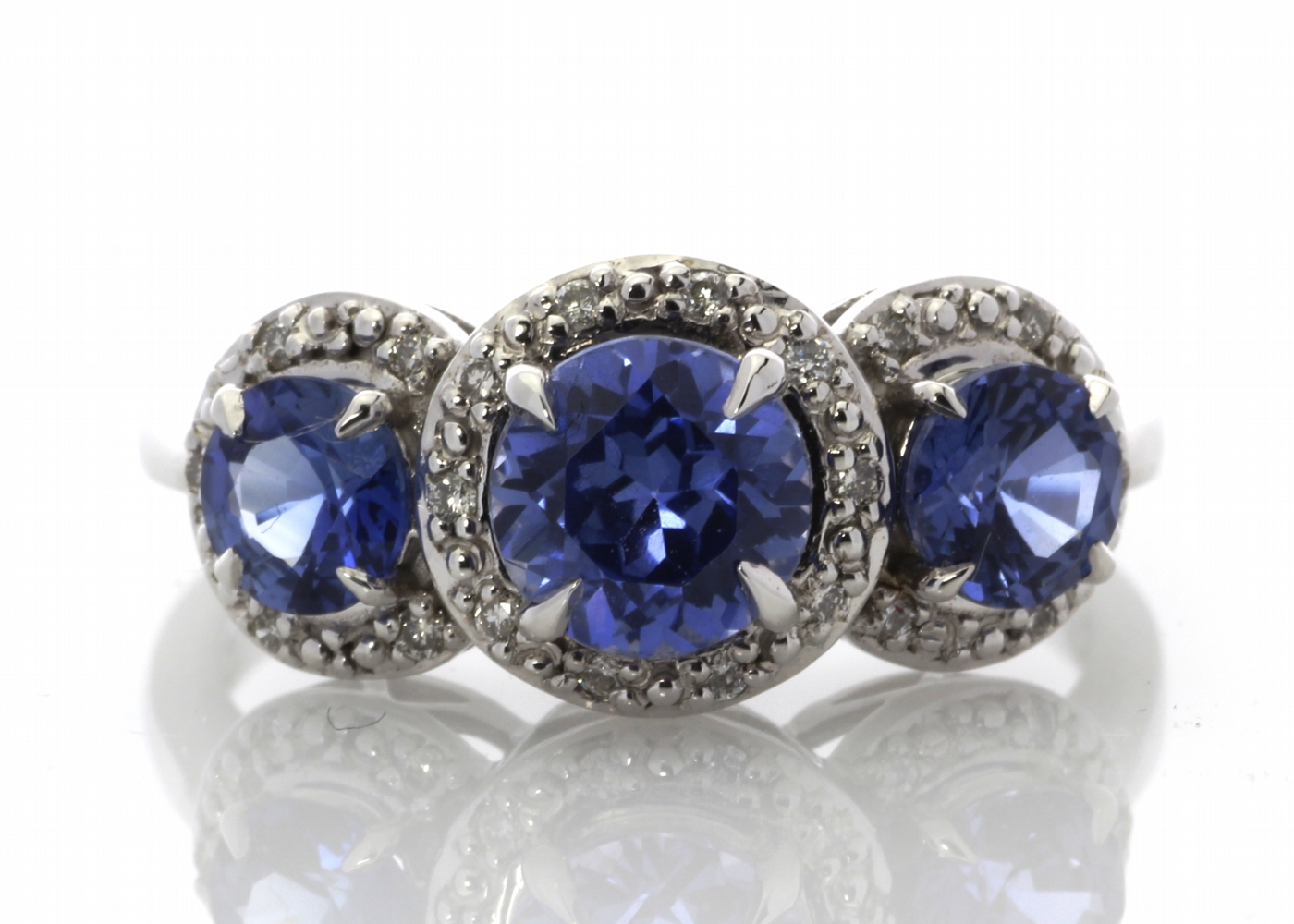 Lot 61 - 9ct White Gold Created Ceylon Sapphire And Diamond Ring