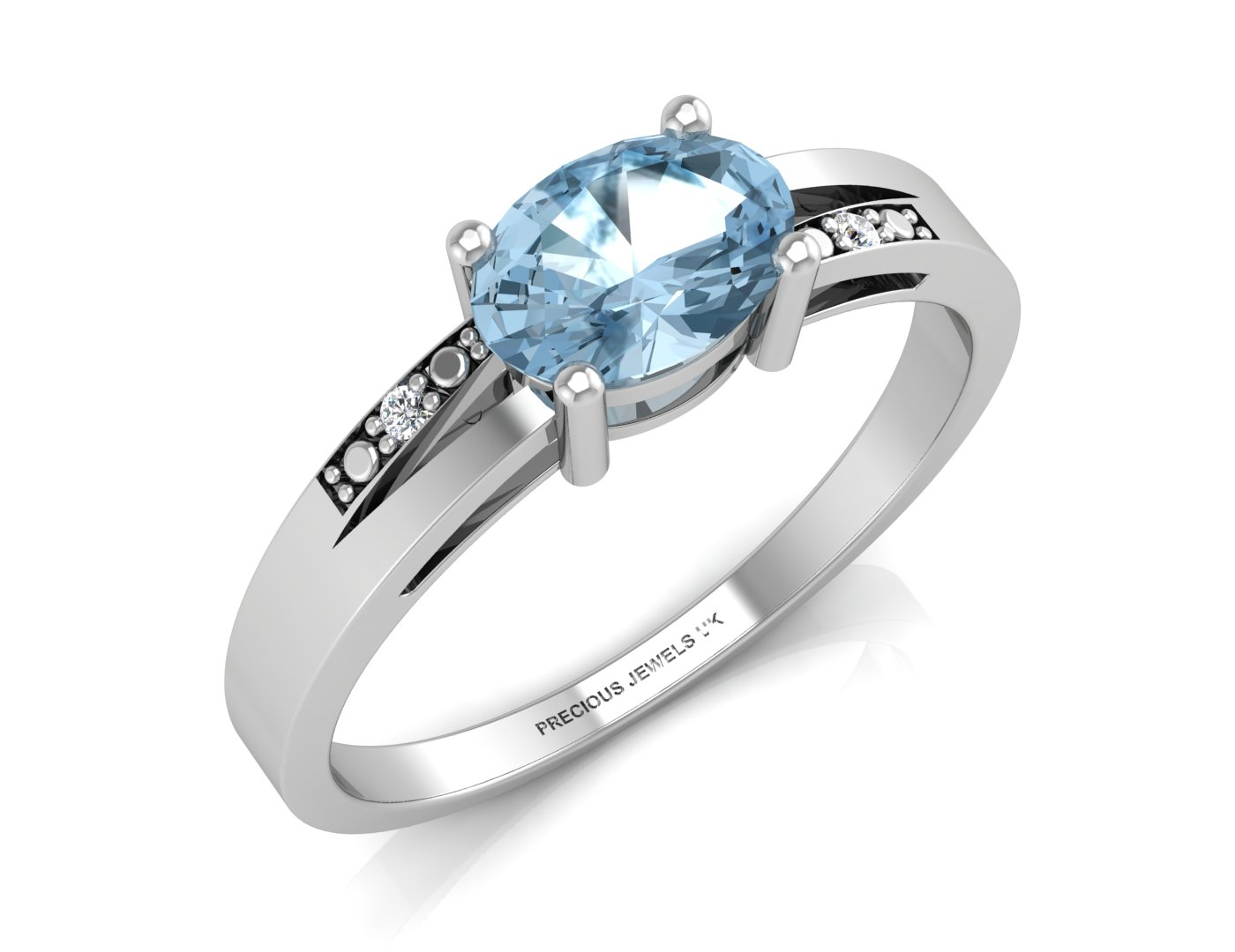 Lot 57 - 9ct White Gold Diamond And Blue Topaz Ring