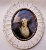 Early 19th Century Portrait Miniature in Oil of a Regency Lady