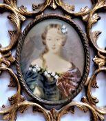 Antique Miniature Portrait of Aristocratic Society Beauty