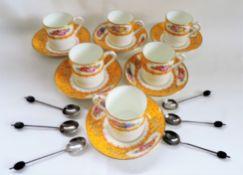 Antique Art Deco Porcelain Coffee Set & Silver Spoons