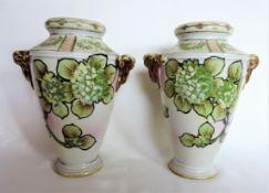 Pair of Antique Nippon Hand Painted Vases c.1920's