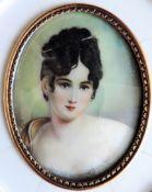 Antique Miniature Portrait Juliette De Camier French Socialite 1777-1849