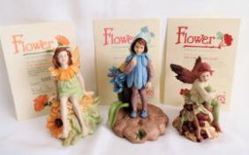 3 x Danbury Mint Flower Fairy Figurines Limited Editions
