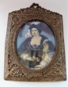 Antique Miniature Portrait Mary Queen of Scots