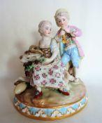 Antique German Porcelain Figurine in the Meissen Style