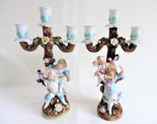Pair Antique German Porcelain Figural Candlesticks