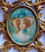 Antique Miniature Portrait of Regency Aristocratic Lady