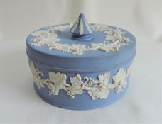 Wedgwood Blue Jasperware Lidded Trinket Dish