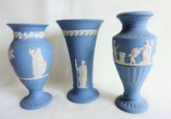 Trio of Wedgwood Blue Jasperware Vases
