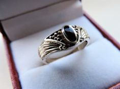 Silver Ring set with Black Onyx Stone