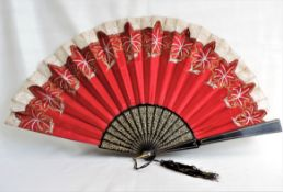 Large Antique Red Silk Hand Fan