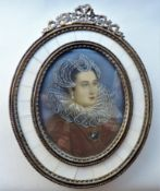 Miniature Portrait Mary Queen of Scots in Ornate Frame