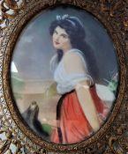 Antique Miniature Portrait of Regency Lady