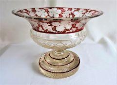 Bohemian Egermann Ruby Bowl Cut-To-Clear Glass Centrepiece,