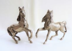 Pair Italian Silverplate Horse Sculptures