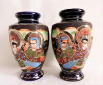 Vintage Pair of Japanese Satsuma warrior vases