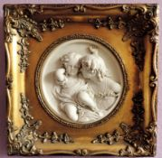 E W Wyon Marble Plaque 'Children at Play'