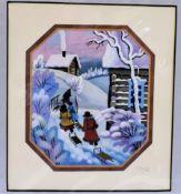 Russian Artist Galina Lavrenko Frosty Morning Watercolour